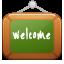 lavagna con scritto welcome